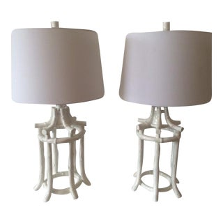 Vintage Hollywood Regency White Faux Bamboo Pagoda Lamps - a Pair