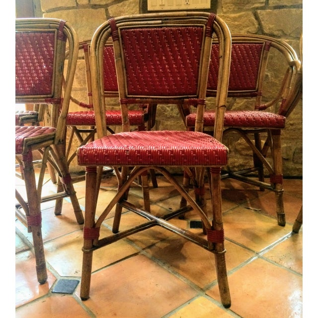 Vintage Woven French Bistro Chairs - Set of 6 - Image 6 of 11