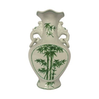 Green And White Asian Motif Vase