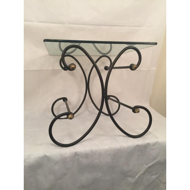 Iron and Glass Side Table - Image 5 of 6