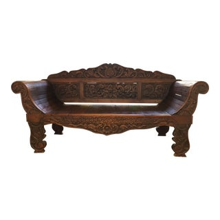 Balinese Carved Wood Daybed