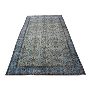 "Blue Overdyed Wool Turkısh Rug - 5'5"" X 9'10"""