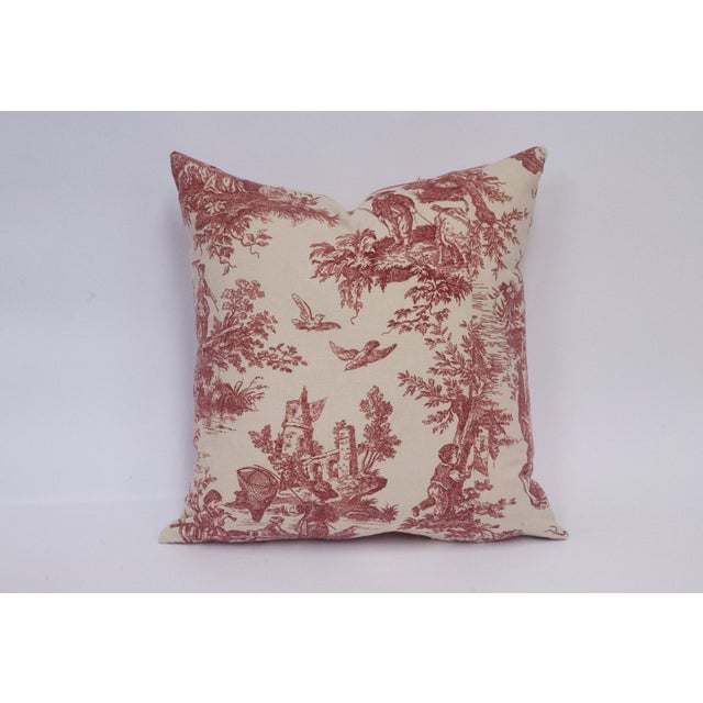 Red & Cream Deconstructed Toile Pillows - A Pair - Image 4 of 8