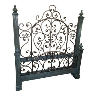 Solid Wood & Wrought Iron Queen Bed