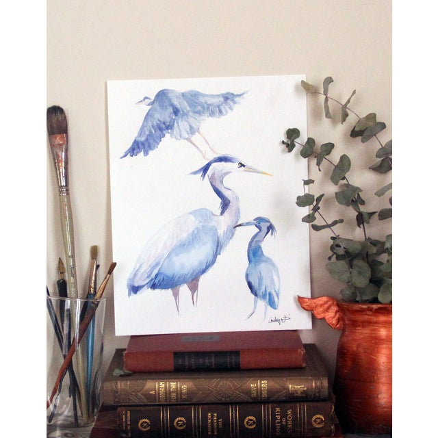 """""""Blue Herons"""" Original Watercolor Painting - Image 3 of 3"""