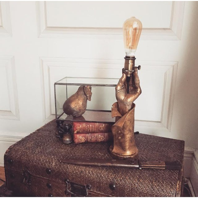 """Hand Sculpted """"Edison's Light"""" Hand Lamp - Image 6 of 6"""