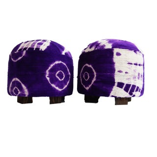 Purple & White Mud Cloth Ottomans - A Pair