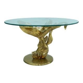 Brass & Glass Koi Fish Coffee Table