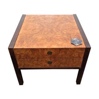 Burl Wood & Mahogany 2 Drawer Side Table