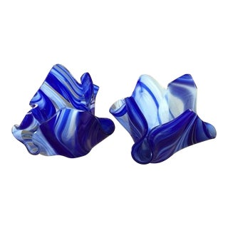 Finnish Hand Blown Glass Votive Holders - Pair