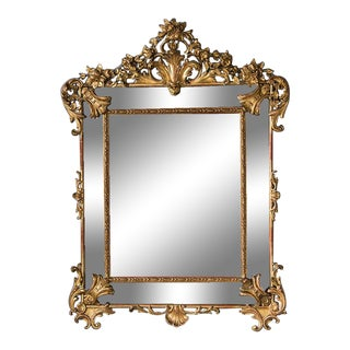 Bold Antique French Régence Style Pareclose Gold Leaf Mirror circa 1890 (43″w x 59″h)