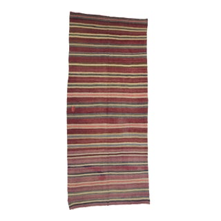 Vintage Turkish Striped Kilim Rug- 5′ × 12′2″