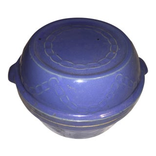 Blue Earthenware Cooking Crock & Lid