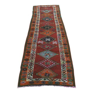 "Antique Turkish Oushak Runner - 2'10"" x 12'8"""