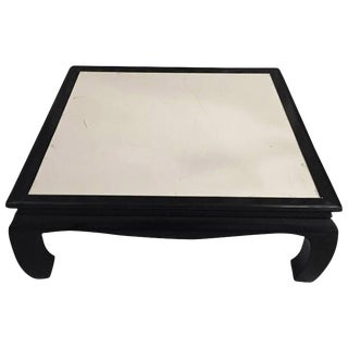 French Art Deco Black Lacquered Parchment Coffee Table