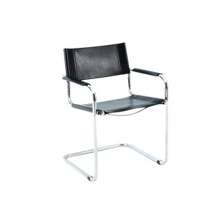Italian Leather & Chrome Arm Chair by Lowenstein Oggo