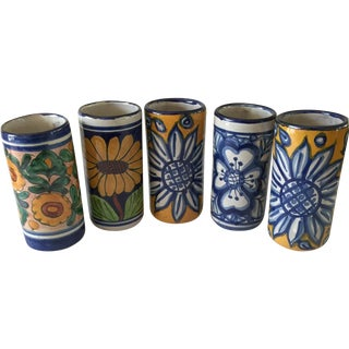Bold Pottery Floral Tumbler Vases - Set of 5