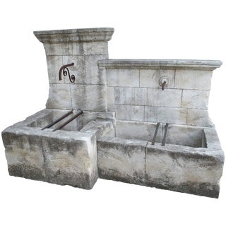 Large and Unusual Carved Limestone Wall Fountain from France