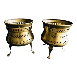 Antique Brass Footed Planters - A Pair