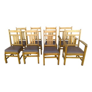 Arts & Crafts Reproduction Dining Chairs - Set of 8