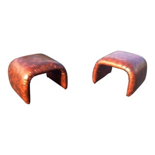 Mid-Century Modern Vintage Naugahyde Benches - A Pair