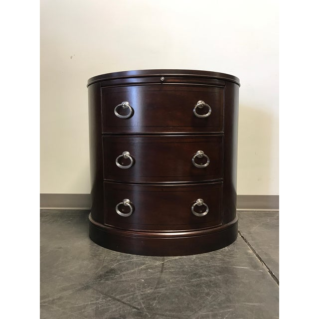 Contemporary Oval Mahogany 3-Drawer Bachelor Chest - Image 7 of 11