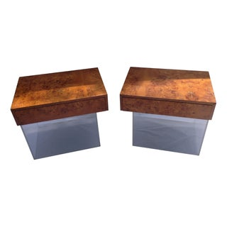 Burl And Lucite Nightstands or Side Tables