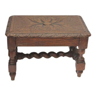 Hand Carved 19Th Century English Foot Stool