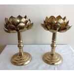 Image of Feldman Brass Lotus Candleholders - Set of 3