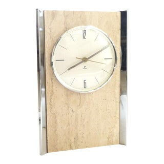 Raymor Modernist Chrome & Travertine Clock