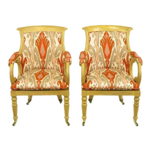 Pair Interior Crafts Regency Scrolled Arm Chairs In Ikat Fabric - Image 1 of 10
