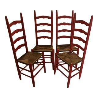 Vintage Ladder Back Rush Seat Chairs - Set of 4