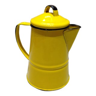 French Country Yellow Enamel Pitcher