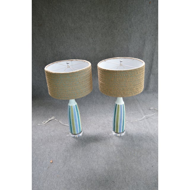 Vintage Mid-Century Striped Ceramic Lamps - A Pair - Image 8 of 8
