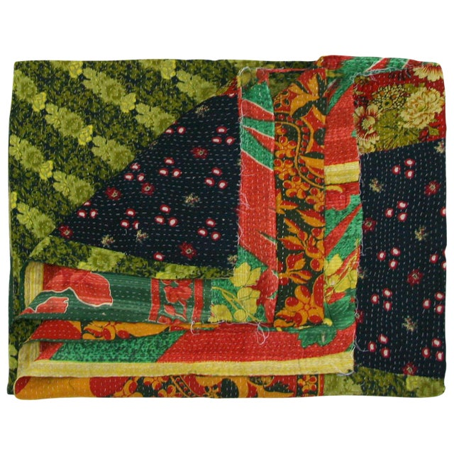 Vintage Lime and Red Kantha Quilt - Image 1 of 3