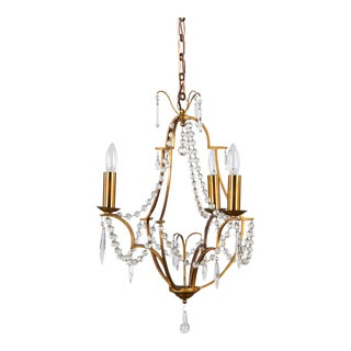 Late 1800s French Crystal & Gilded Bronze Chandelier