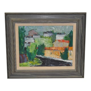 Abstract Village Landscape Painting by Clarence Emory Bates