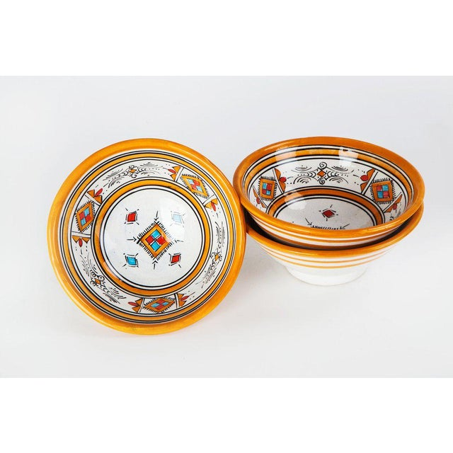 Handcrafted Orange Ceramic Bowls - Set of 3 - Image 4 of 4