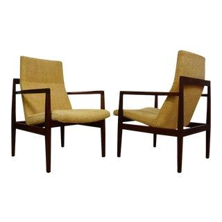 Jens Risom Walnut Lounge Chairs - A Pair