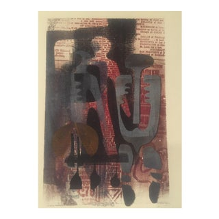 Original Vintage Mid-Century Wood Block Abstract Print
