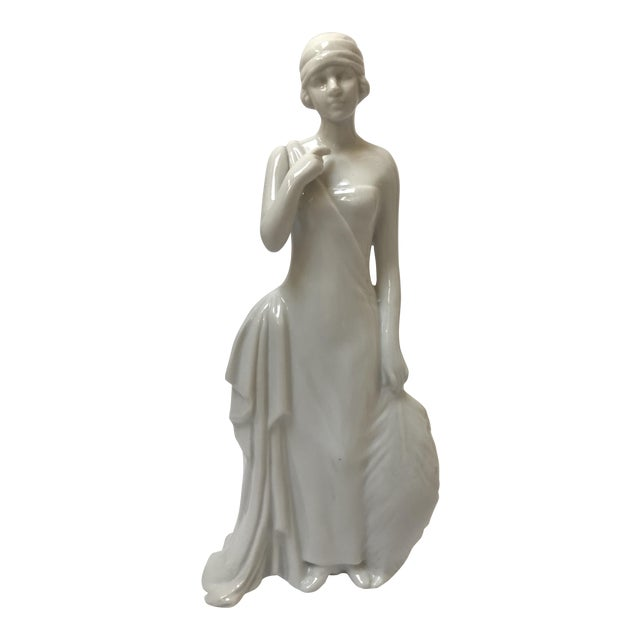 Art Deco Flapper Woman Statue - Image 1 of 8