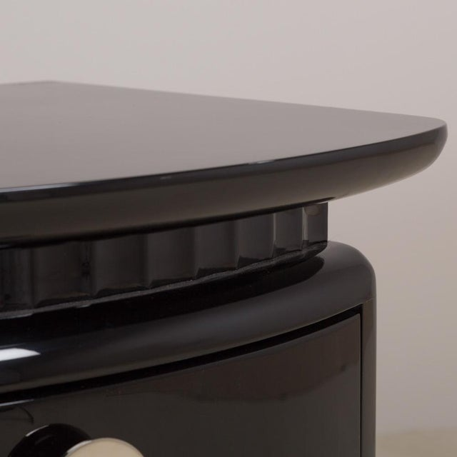 Image of Stunning Jet Black Lacquered Three-Drawer Commode, 1980s