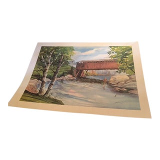 Bridge & Fly Fisherman Original Watercolor Painting