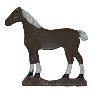 Dempster Brown & White Cast Iron Horse Windmill Weight