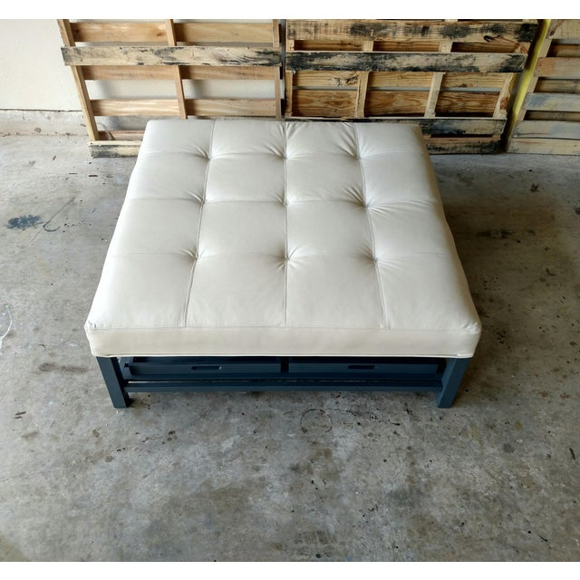 Gambrell Renard Tufted Leather Austin Ottoman With Trays - Image 3 of 5