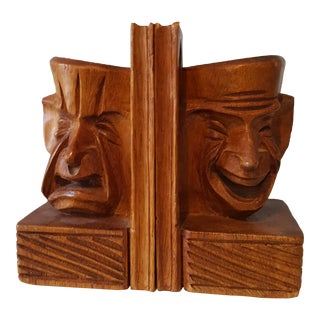 Vintage Mid-Century Comedy & Tragedy Carved Wood Bookends- A Pair