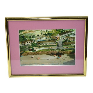 Laguna Beach California Vintage Postcard in Brass Picture Frame