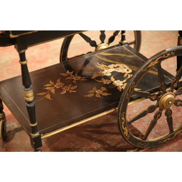 Early 20th Century French Chinoiserie Hand Painted Bar Cart - Image 3 of 10