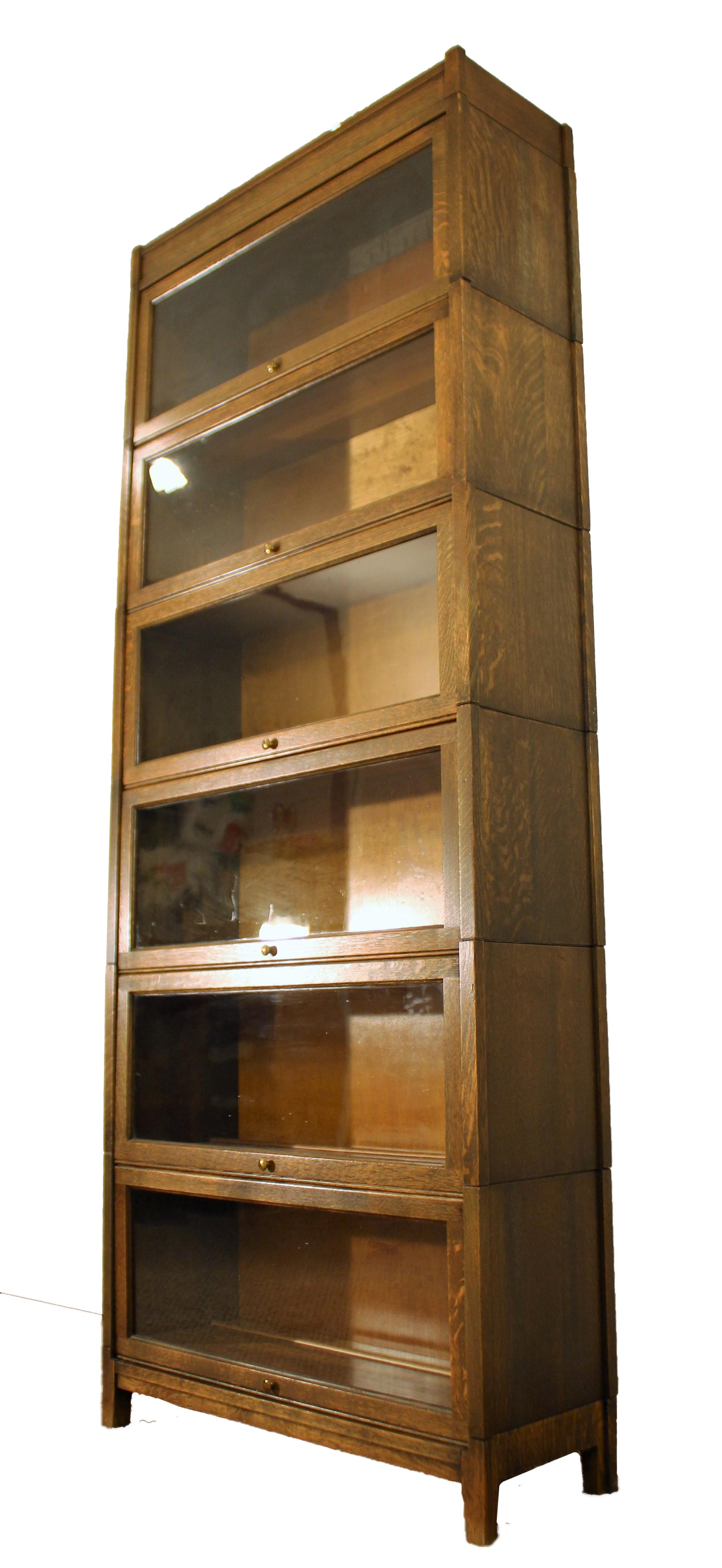 Antique Oak Gunn 6 Section Sectional Barrister Bookcase