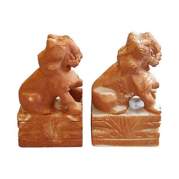 Carved Solid Marble Foo Dog Bookends - Pair - Image 4 of 7